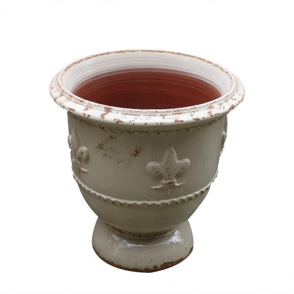 Madeleine la poterie - Vase fleur de Lys vieilli tradition ivoire