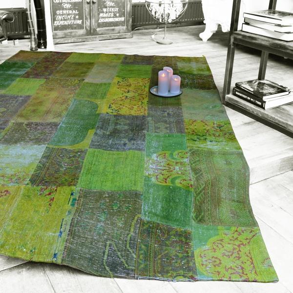 Patchwork Teppich grün, 3,10 x 2,05