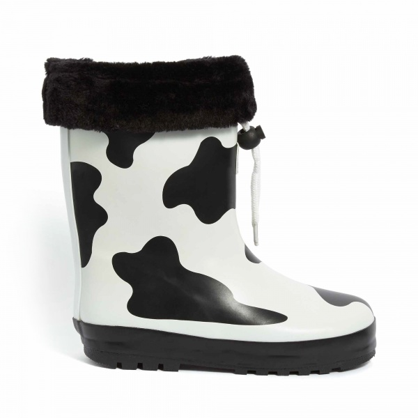 Children's Cow Print Gummistiefel