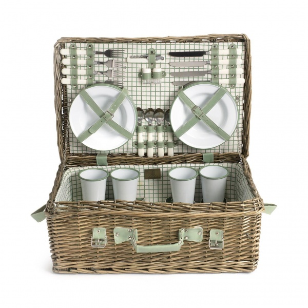 Country House Picknickkorb für 4 Personen, Enamelware