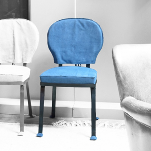 Stuhl Limetta Guepiere Leder, blau von BAXTER